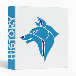 Blue on Blue Wolf Head 3 Ring Binder