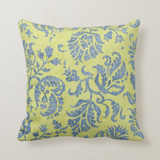 Blue on Citrus Damask Wallpaper Pattern Throw Pillow