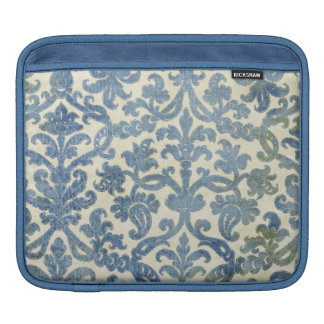 Blue on Cream Damask Wallpaper Pattern iPad Sleeves
