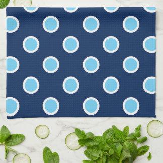 Blue on Dark Blue Polka Dot Pattern Kitchen Towel