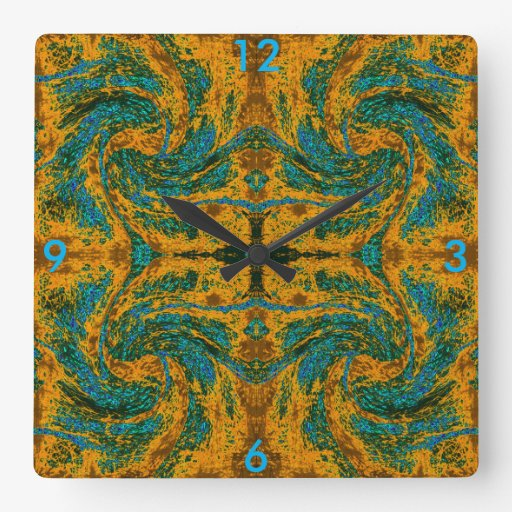 Blue on Gold Wall Clock for Home Decor Zazzle