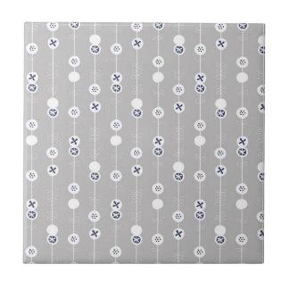 Blue on Gray Retro Fruit Slices Ceramic Tile
