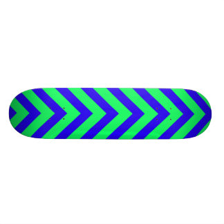Blue on Green V Pattern Skateboard