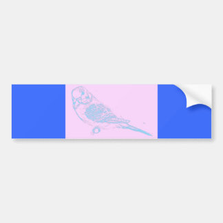 Blue on Pink Budgie Drawing Car Bumper Sticker
