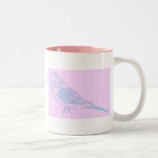 Blue on Pink Budgie Drawing Two-Tone Coffee Mug