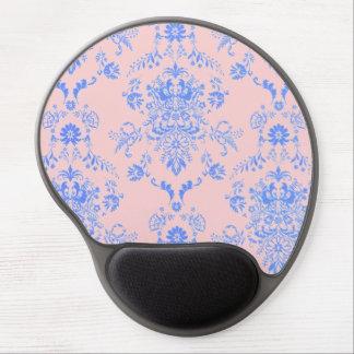 Blue on Pink Damask Gel Mouse Pad