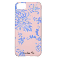 Blue on Pink Damask  Personalized iPhone 5 Case