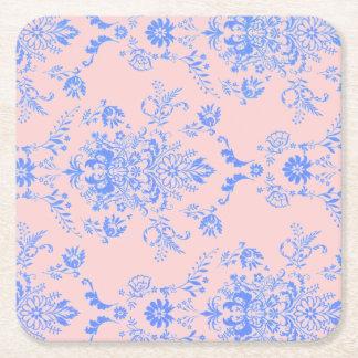 Blue on Pink Damask Square Paper Coaster