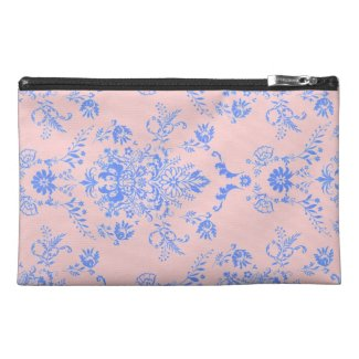 Blue on Pink Damask Travel Accessory Bag