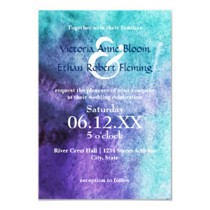 Watercolor Purple and Turquoise Wedding Invitations