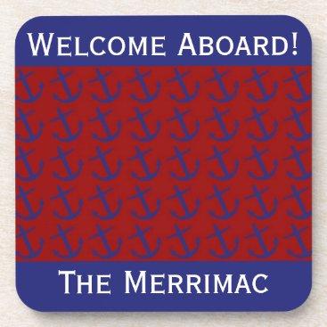 Beach Themed Blue on Red Leaning Anchors Personalized Drink Coaster