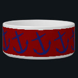 """Blue on Red Leaning Anchors Pet Bowl<br><div class=""""desc"""">Classic nautical anchors in vibrant blue on a bright red background.</div>"""