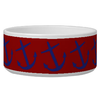 Blue on Red Leaning Anchors Pet Bowl