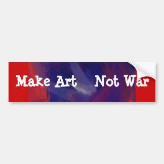 Blue On Red- Make Art Not War  BumperSticker Bumper Sticker