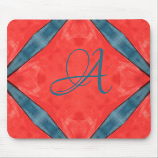 Blue on Red with monogram Mouse Pad