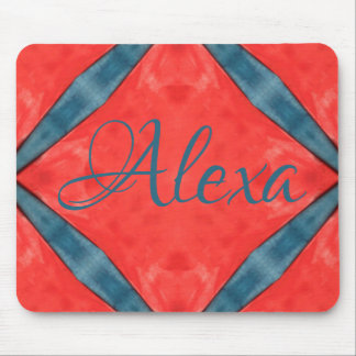 Blue on Red with name Mouse Pad