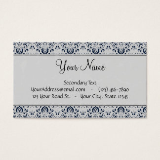 Blue on Silver Damask w Navy Stripes and Monogram Business Card