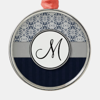 Blue on Silver Damask w Navy Stripes and Monogram Metal Ornament