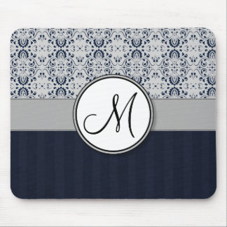 Blue on Silver Damask w Navy Stripes and Monogram Mouse Pad