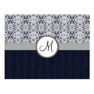 Blue on Silver Damask w Navy Stripes and Monogram Postcard