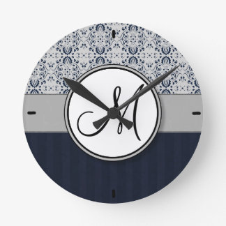 Blue on Silver Damask w Navy Stripes and Monogram Round Wall Clock