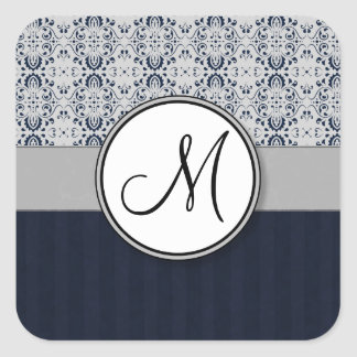 Blue on Silver Damask w Navy Stripes and Monogram Stickers