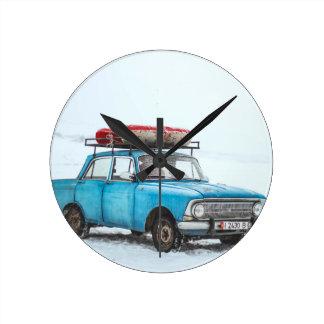Blue On Snow Round Clock