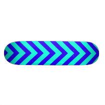 Blue On Turquoise V Pattern Skateboard