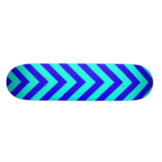 Blue On Turquoise V Pattern Skateboard