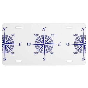 Beach Themed Blue On White Coastal Decor Compass Rose Pattern License Plate