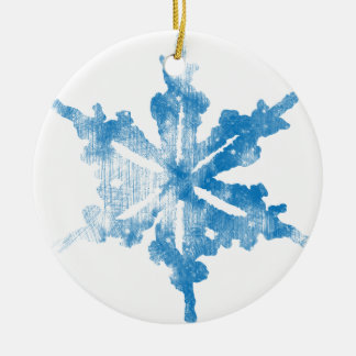 Blue on White Frosty Snowflake design Ceramic Ornament