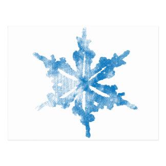 Blue on White Frosty Snowflake design Postcard