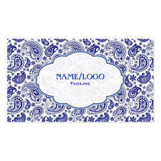 Blue On White Retro Paisley PatternDesign Double-Sided Standard Business Cards (Pack Of 100)