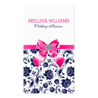 Blue On White Vintage Damasks With Pink Bow Business Card
