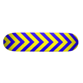 Blue on Yellow V Pattern Skateboard