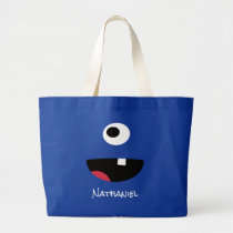 Blue One Eyed Monster Face Funny Kids Personalized Large Tote Bag