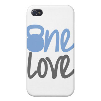 """Blue """"One Love"""" iPhone 4 Case"""
