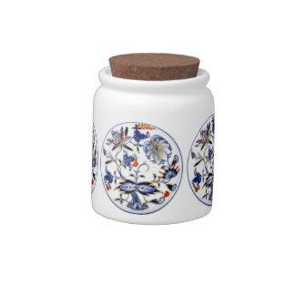 Blue Onion Vintage China Plate Pattern Candy Jar