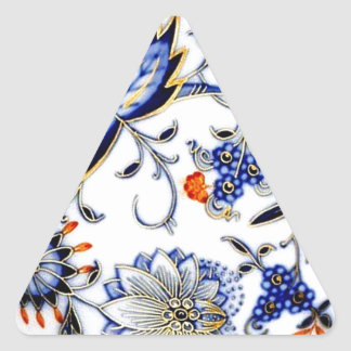 Blue Onion Vintage China Plate Pattern Triangle Stickers