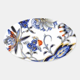 Blue Onion Vintage China Plate Pattern Oval Sticker