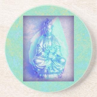 Blue Opal Kwan Yin sandstone coaster