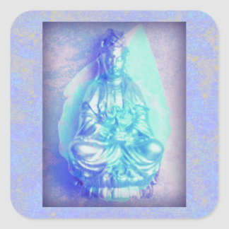 Blue Opal Kwan Yin square sticker