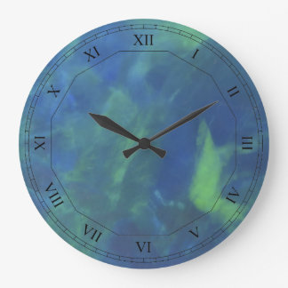 Blue Opal with Roman Numerals Large Clock