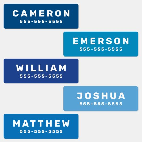 Blue or any color name and number waterproof labels