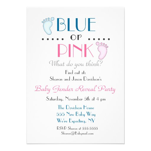 Blue or Pink Baby Feet Gender Reveal Invitation