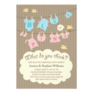 Blue or Pink Baby Gender Reveal Party Invite Invite