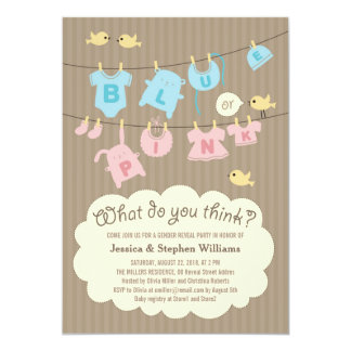 """Blue or Pink Baby Gender Reveal Party Invite 5"""" X 7"""" Invitation Card"""