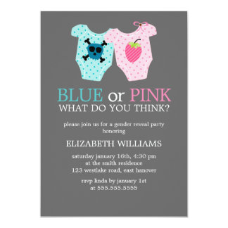 Blue or Pink? Baby Outfits Gender Reveal Party Card