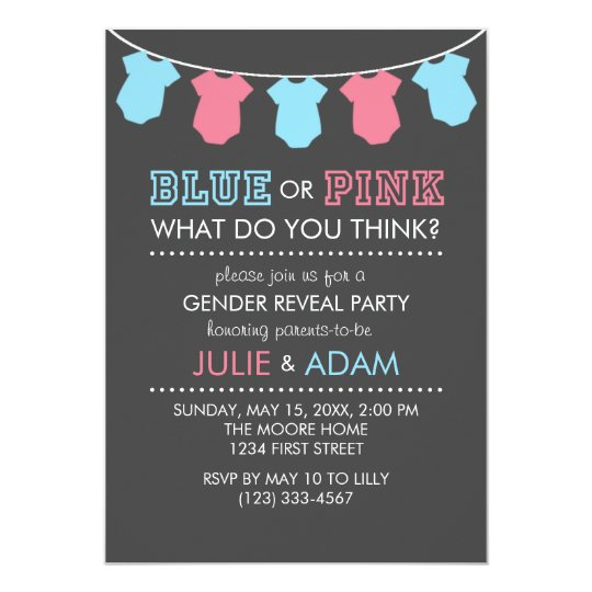Blue or Pink Gender Reveal Party Invite Grey Zazzlecom