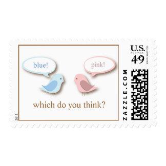 Blue or PInk Little Birds Gender Reveal Surprise Postage Stamps